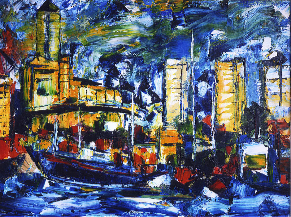 German Expressionism Hubert Roestenburg Cityscape  Docklands Canary wharf London
