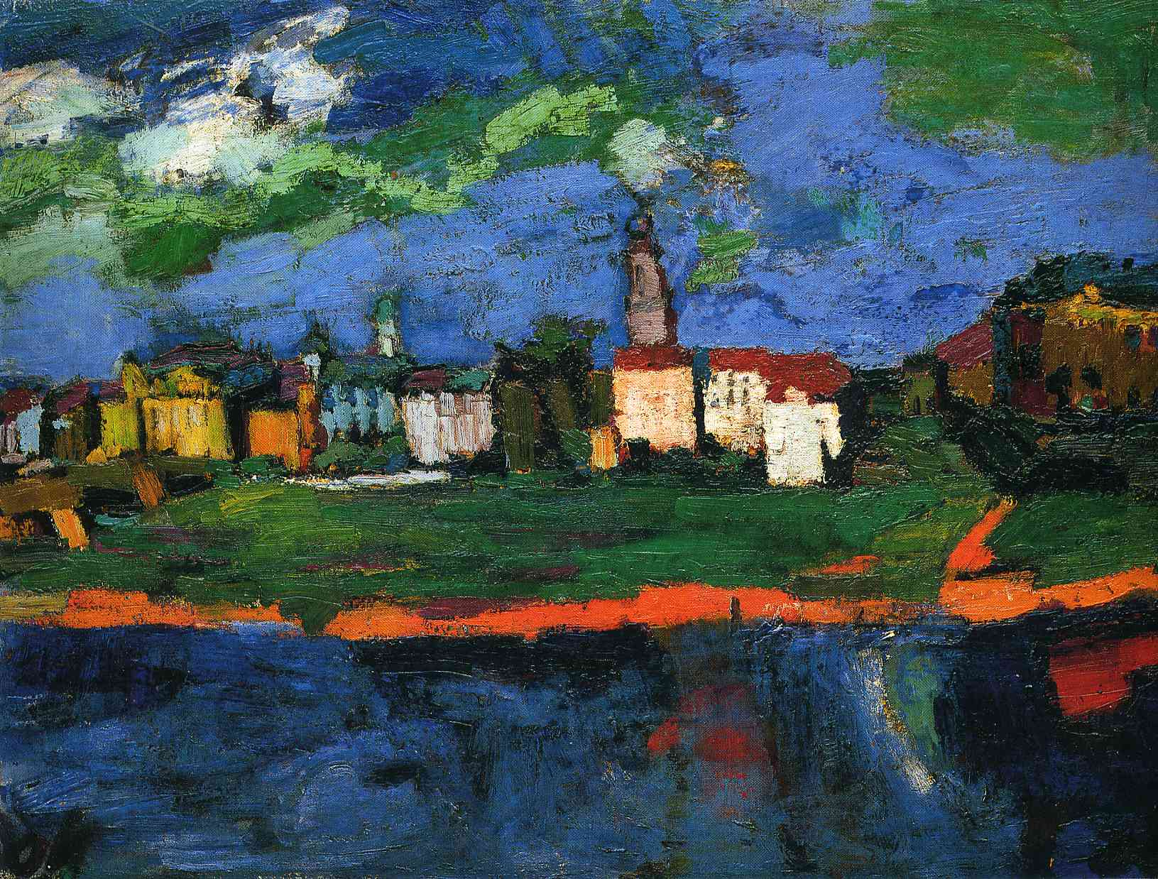 German Expressionisst painter Oscar Kokoschka The Elbe near Dresden