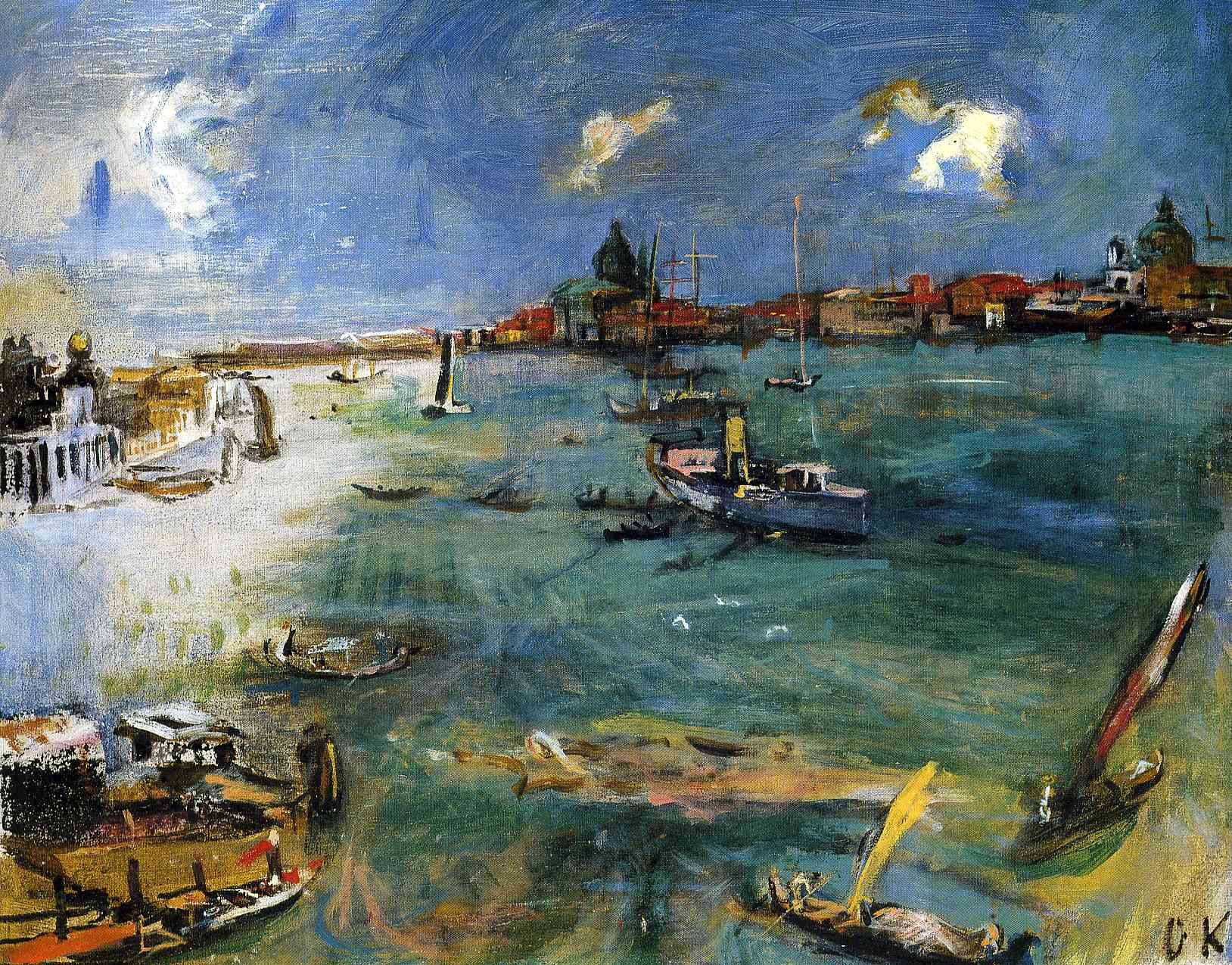 German Expressionist painter Oskar Kokoschka Venice Boats on the Dogana