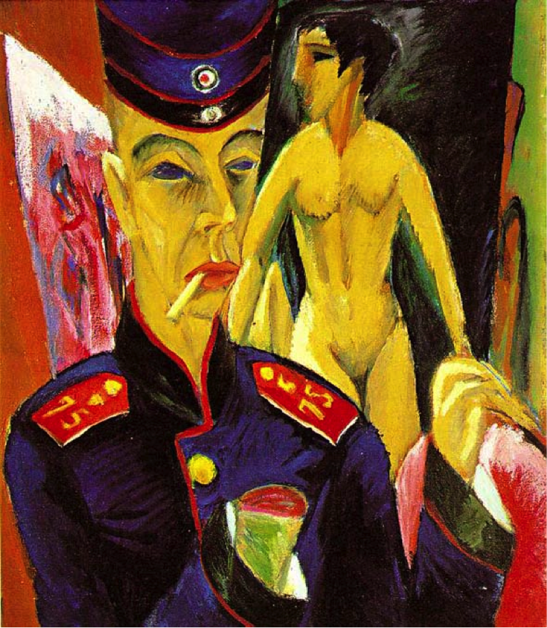 German expressionism - German Expressionist painting by Ernst Ludwig Kirchner Self-portrait as-soldier