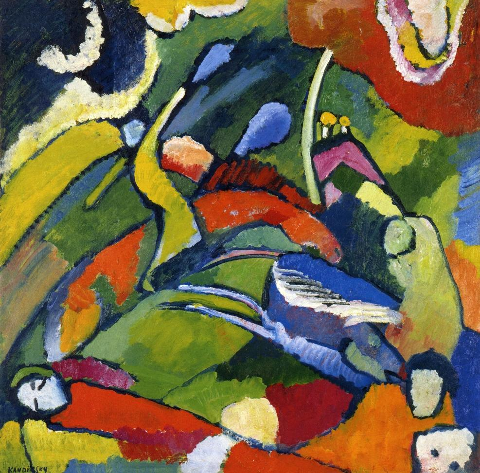 German Expressionist painter Wassily Kandinsky Two riders and reclining figure