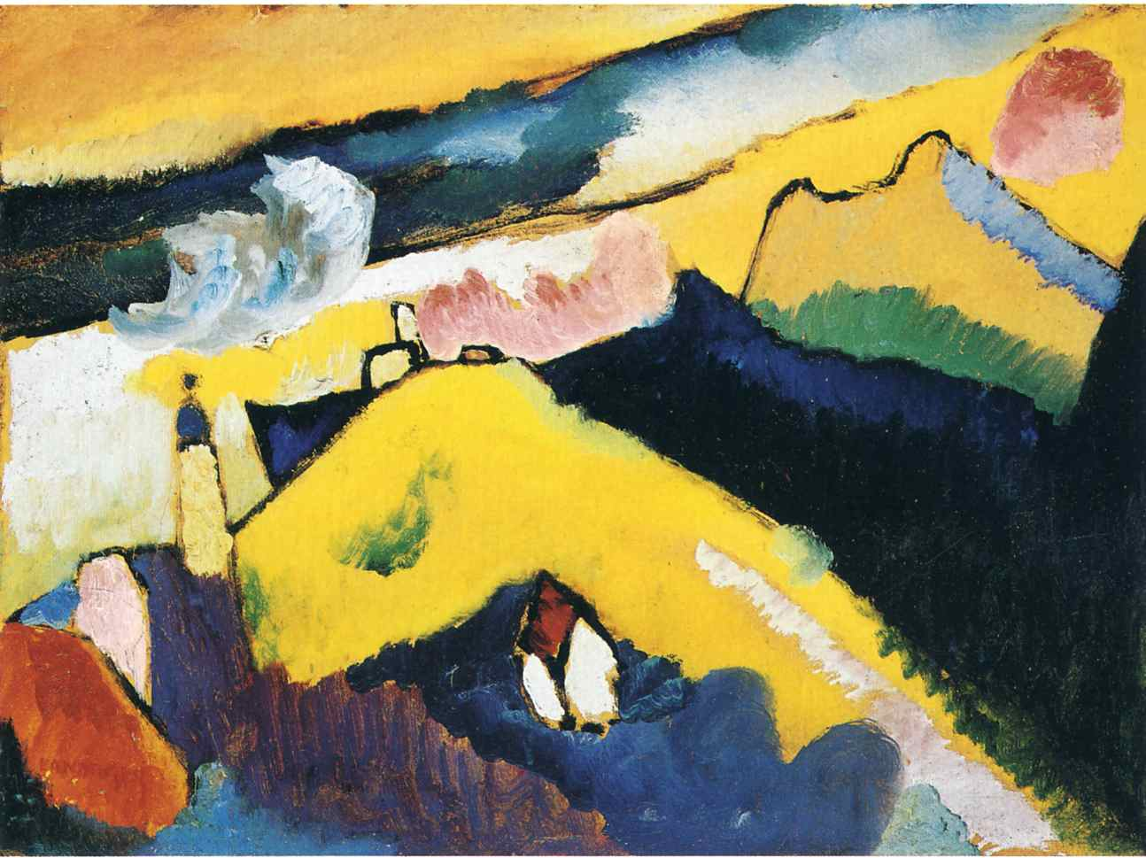 German expressionist painter Wassily Kandinsky mountain landscape with church